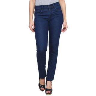 Masterly Weft Trendy Cool Dark Blue Color Jeans For Women