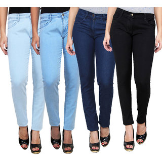 Masterly Weft Trendy Cool Multi Color Pack Of 4 Jeans For Women