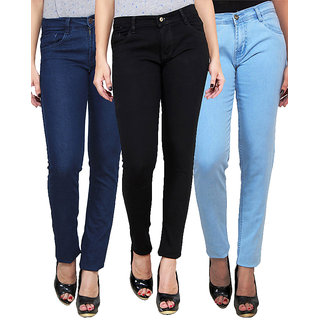 Masterly Weft Trendy Cool Multi Color Pack Of 3 Jeans For Women