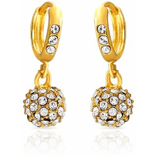Meia Gold Plated White Alloy Dangle Earrings For Women