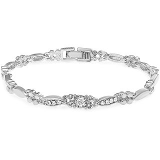 Meia Rhodium Plated White Alloy Bracelet For Women