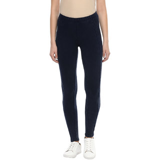 Grain Womens Navy Mineral Washed Cotton Lycra Terry Leggings