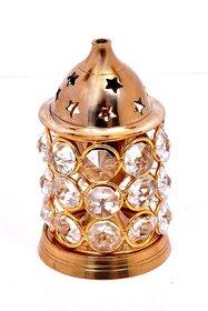 Decorate India Gold Platted small crystal Akhand Diya (10 cm x 7 cm x 7 cm)