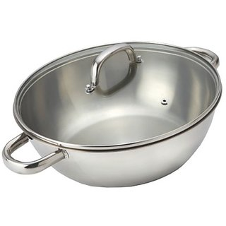 Alda Induction Friendly Impact Bonded Stainless Steel Wok Pan with Lid - 28 cm