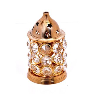 Decorate India Gold Platted small crystal Akhand Diya (10 cm x 7 cm x 7 cm)
