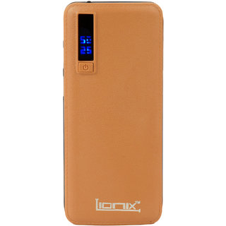 Lionix Smarty P3 Digital Display LED-Flashlight with 3 USB Port 10000mAh PowerBank Suitable for all Smartphones(Brown)