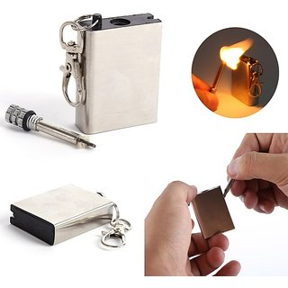 Emergency Fire Starter Flint Match Lighter Metal Outdoor Camping Hiking Instant Survival Tool Safety Durable Keychain