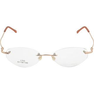 affable Rimless Oval Unisex Spectacle Frame  A143 COPPER  50 mm