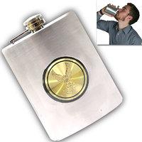 08 Oz STAINLESS STEEL Drinks Hip Pocket Wine Flask Screw Cap - 59