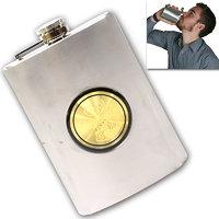 09 Oz STAINLESS STEEL Drinks Hip Pocket Wine Flask Screw Cap 64