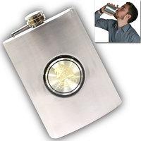 09 Oz STAINLESS STEEL Drinks Hip Pocket Wine Flask Screw Cap - 66