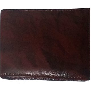 DIME Brown Glossy Pure leather Wallet for men
