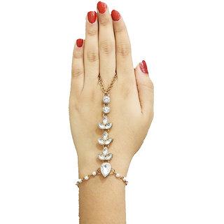 JewelMaze Gold Plated White Glass Stone Chain Hand Harness-FAJ0159