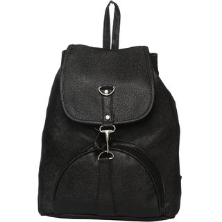 Buy Black Color Stylish Backpack College Casual PU Bag ...