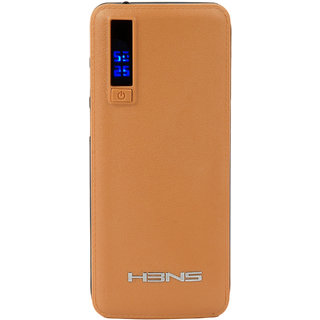 HBNS Smarty P3 Digital Display LED-Flashlight with 3 USB Port 10000mAh PowerBank Suitable for all Smartphones (Brown)