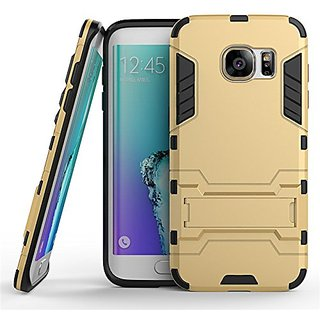 Dream2Cool Heavy Duty Shockproof Armor Kickstand Version 3.0 Back Case Cover for Samsung Galaxy S7 Edge  - Gold