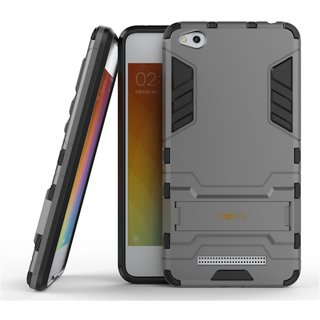 Dream2Cool Heavy Duty Shockproof Armor Kickstand Version 3.0 Back Case Cover for   Redmi 4A  - Metal Grey