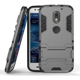 Dream2Cool Back Cover Case for Motorola Moto E3 / Motorola Moto E3 Power  (Metal Grey) [military Grade Version 3 0 With Kick Stand Hybrid Back Cover