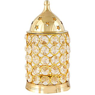 Decorate India Large Brass Akhand Diya With Diamond Nag Deep Diya 6 inch