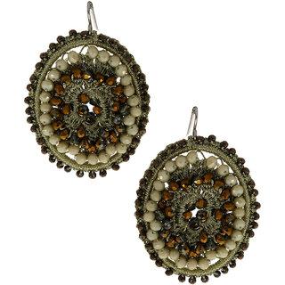 Anuradha Art Grey Colour Studded Beads Handmade Party Wear Fancy Long Earrings For Women/Girls