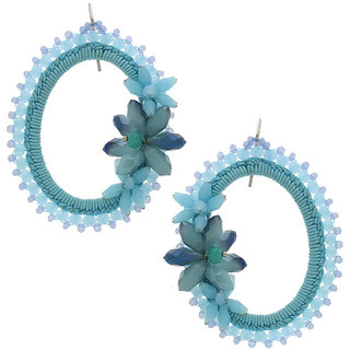 Anuradha Art Sky-Blue Colour Designer Classy Party Wear Fancy Long Earrings For Women/Girls