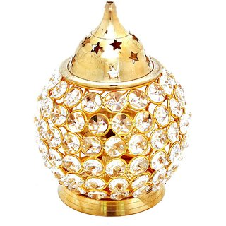 Decorate India Brass Large Matki Crystal Akhand diya diya oval shap 6inch