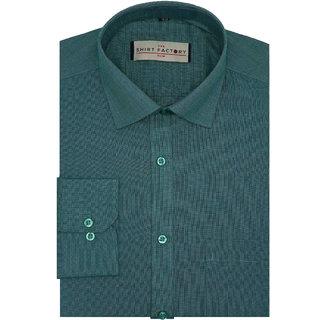 The Shirt Factory Men's Formal Shirt Full Sleeves Slim Fit - Green