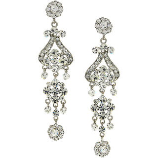 Anuradha Art Silver Finish Flower Party Wear Fancy Long Earrings For Women/Girls
