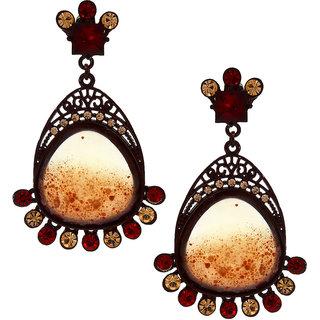 Anuradha Art Red Colour Wonderful Studded Stone Party Wear Fancy Long Earrings For Women/Girls