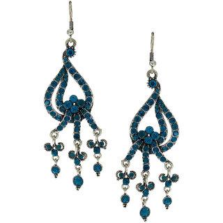 Anuradha Art Blue Colour Studded Shimmering Stone Party Wear Fancy Long Earrings For Women/Girls