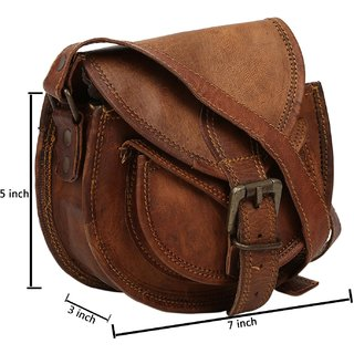 znt leather bag Genuine Leather Dark Brown Sling Bag For Girls And Women H7  W9 L4 (Brown) cd365d1fe67d6