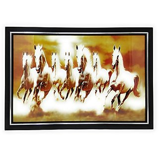Seven Horse Running Painting With Wooden Frame For Home And Office As Per Vastu