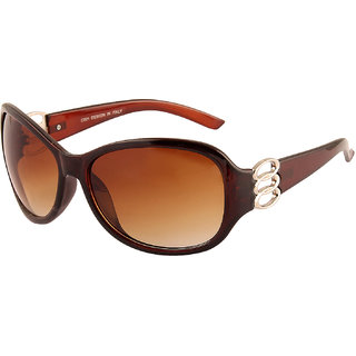 29f311fc84 VESPL Womens Brown Oversized Sunglass Uv400 Protection Polarized Sunglass  V-6108