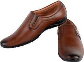 Footfit Men's Tan Formal Slip On Shoes