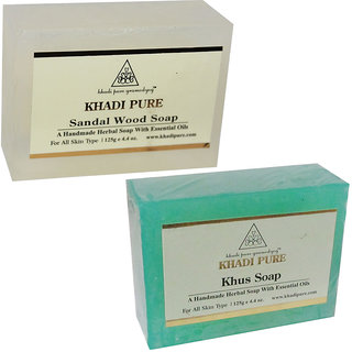 Khadi Pure Sandalwood and Khus Soap Combo (250g) Pack 2