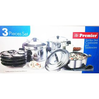 Premier Stainless Steel Cookware And Tableware 3 Pcs Set
