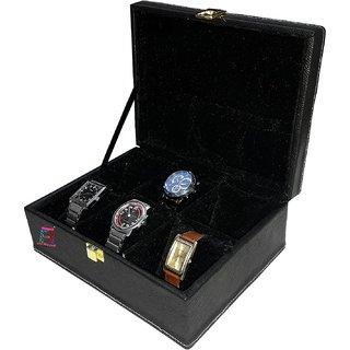 Atorakushon 6 Slot Watch Box Watch Organizer Bracelet Holder Vanity Box Leatherette Black