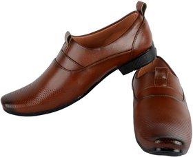 Footfit Men's Tan Formal Slip On Shoes - 134491771