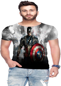 Raves Men's Poly Cotton T-shirts (Captain America)