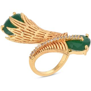 Tistabene Green Stones Floral Designer Antique Cocktail Ring For Women and Girls (RI-0846)