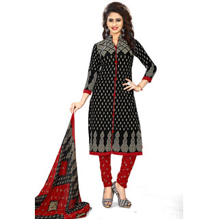 Meia Womens Black and Red Crepe Printed Unstitched Dress Material