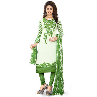 Swaron Women's Off White and Green Crepe Printed Unstitched Dress Material