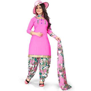 Meia Pink Crepe Printed Kurta & Patiyala Material