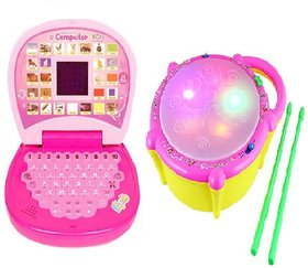 New Pinch Combo of English Mini screen Laptop with Musical Flash Drum for kids