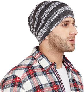 Vimal-Jonney Grey Striped Cap Tshirt For Men