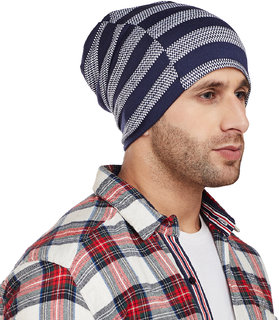 Vimal-Jonney Navy Blue Striped Cap Tshirt For Men