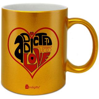 Buy Indigifts Valentines Day Coffee Mug Ceramic Golden 330ml Set Of