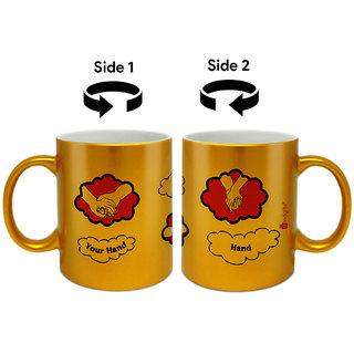 Buy Indigifts Valentines Day Gifts Coffee Mug Ceramic Golden 330ml