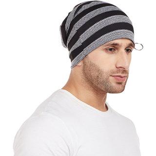 Vimal-Jonney Black Striped Cap Tshirt For Men