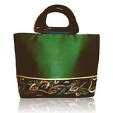 Go Green Embroidered Silk Handbag